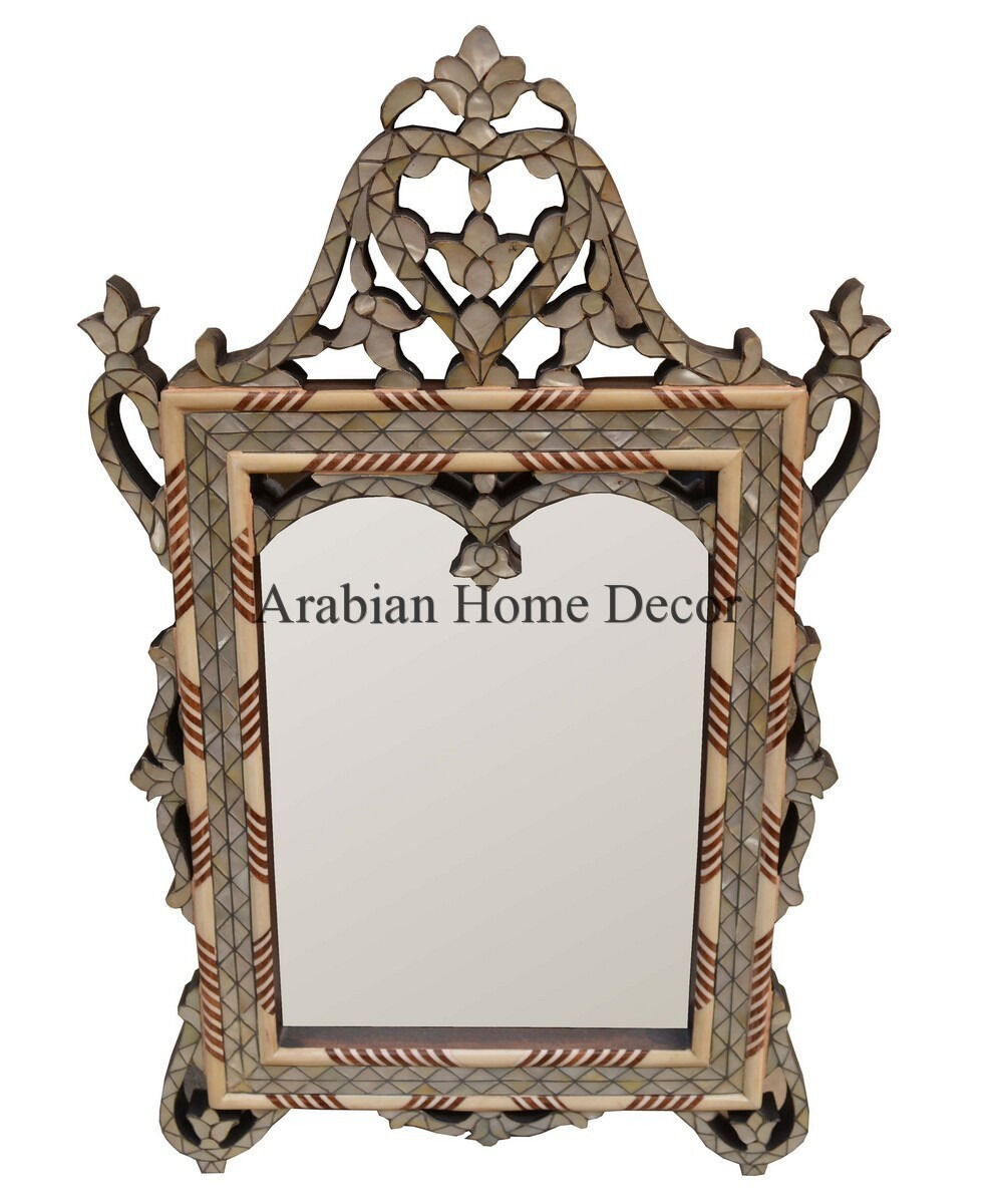 Handcrafted Syrian MGoldccan Mother of Pearl Inlaid Wood Wall Mirror Frame