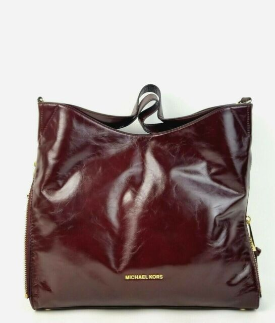 2e3868337868 Michael Kors Devon Large Shoulder Tote Shiny Crinkle Leather Oxblood ...