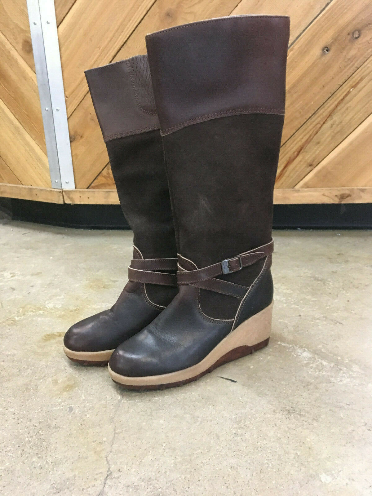 Vintage Rosita Tall Boots Brown Leather Suede Sz 8 1 2 Wedge