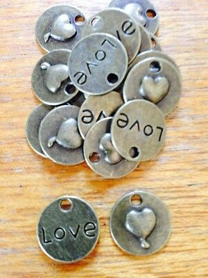 Antique Bronze LOVE Charm x 15