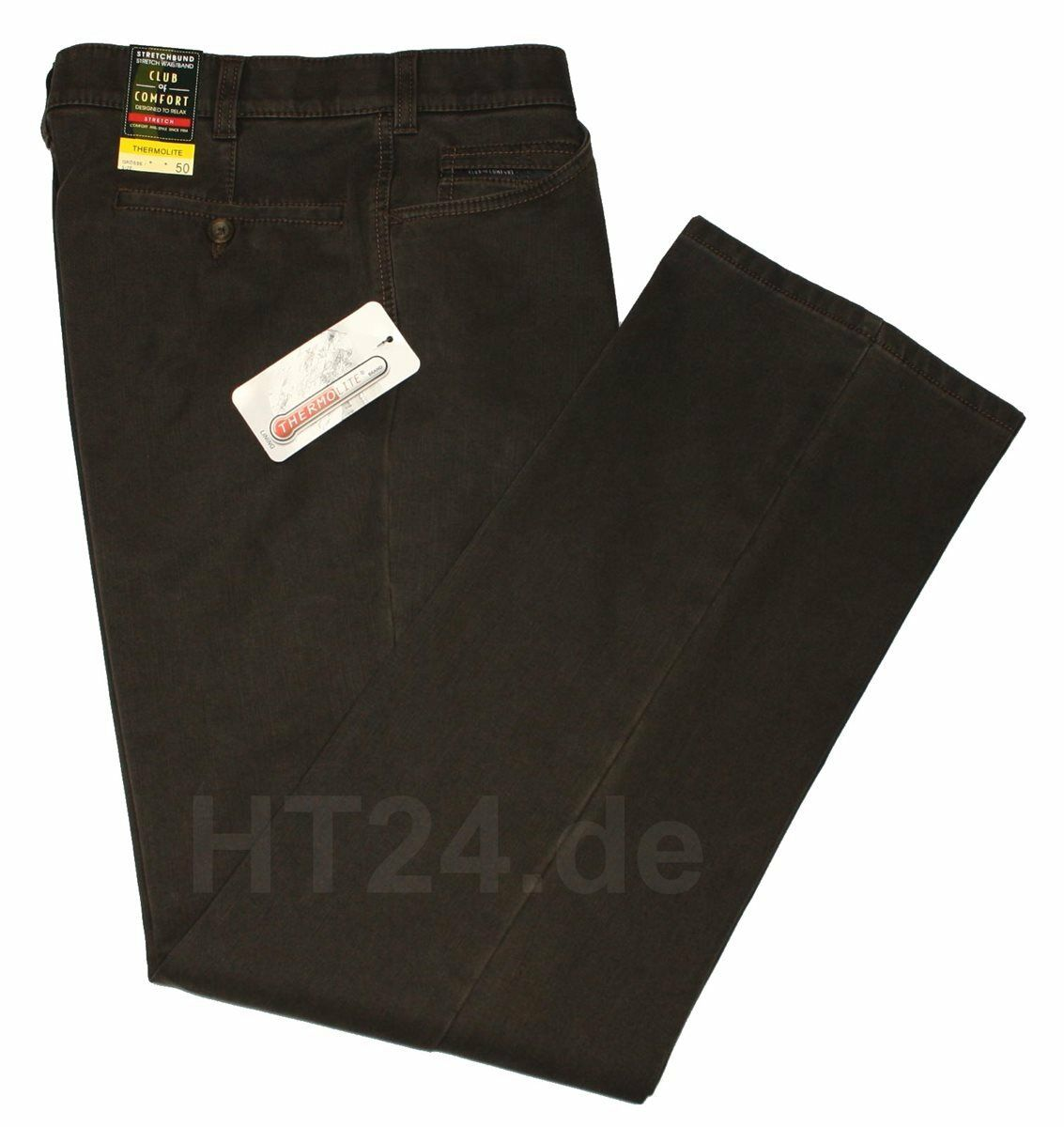 3620046 Club of Comfort Termo Jeans Liam tg. 48 Marronee Scuro Stretch 5225
