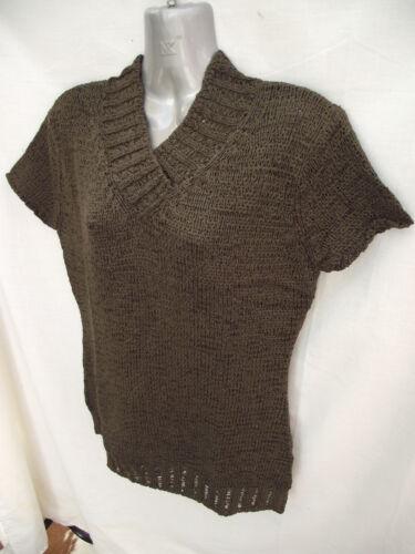 BNWT Ladies Sz 10-12 Undercoverwear Olive Soft Short Sleeve Knit Jumper RRP $60