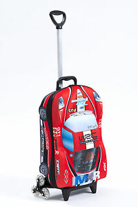 Kid's Trolley Roller Bag Car 3D Rolling Suitcase Luggage Backpack Alternative