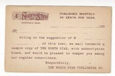 1890s UX12 Westfield MA, Advertising, North Star Publishing Entertainment
