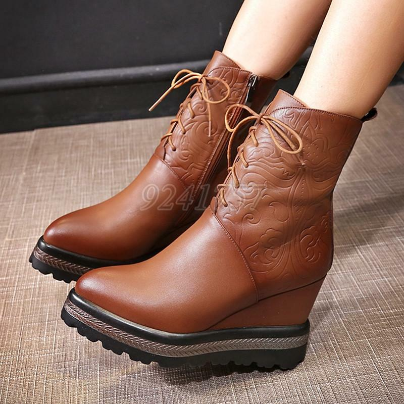 Damen Schuhe hoher Absatz Plateau Komfort Wedge Stiefel Stiefeletten Gr:34-41/42