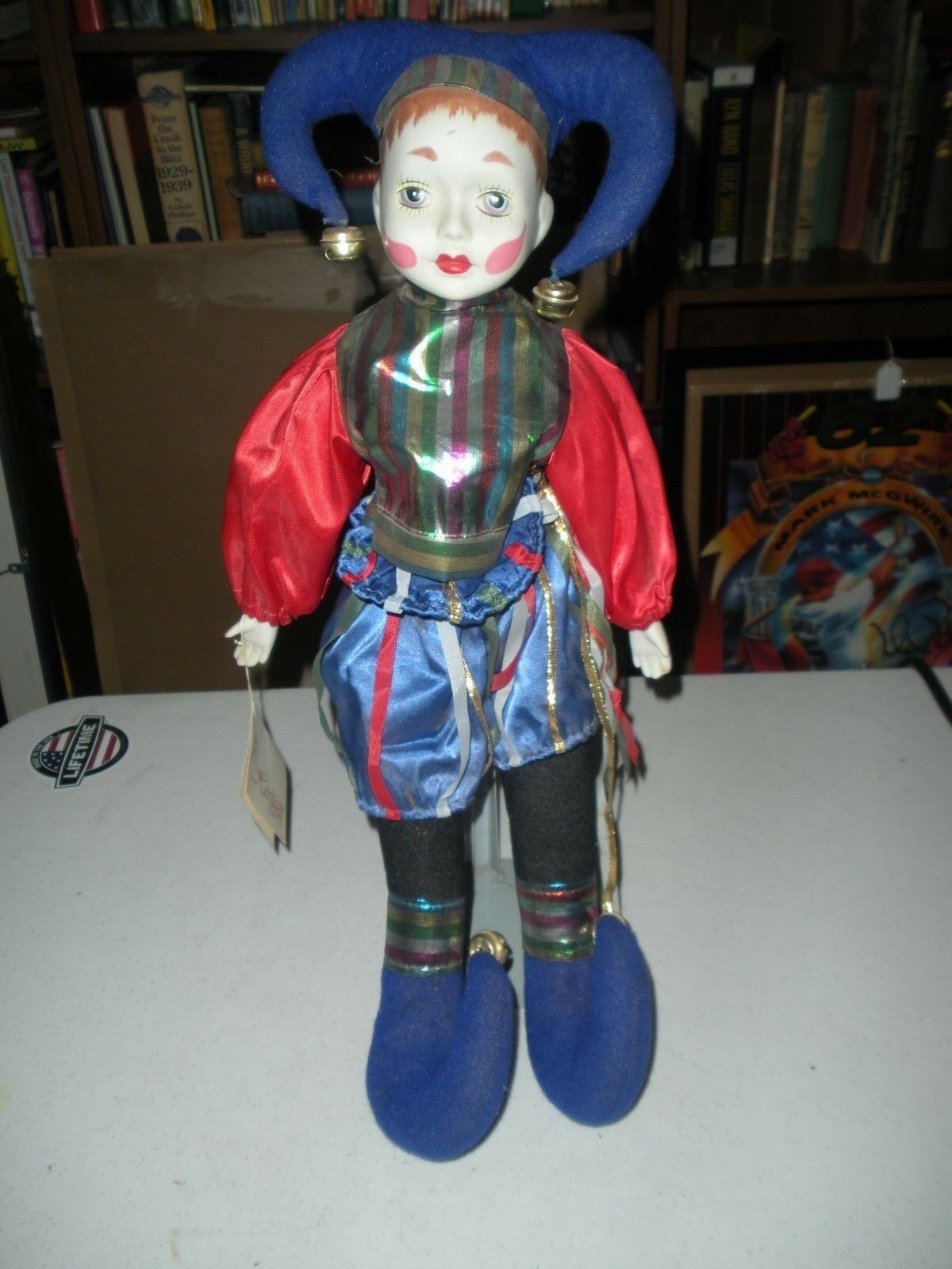 Jester Bisque Porcelain Clown Doll 18  Tall On a Stand Heritage Doll with Tag