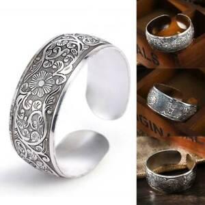 Vintage-Armband-Tibetan-Tibet-Silber-Pfingstrose-geschnitzte-Armreif-Geschenke