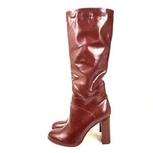 d02d8c1b15f Winter Women Shoes Ladies Round Toe Block Heel Knee High Boots Wine ...