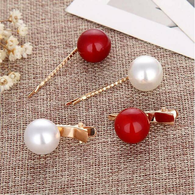 Sweet Imitation Pearl Hairpin Geometric Headdress Girls Hair Styling Accessories