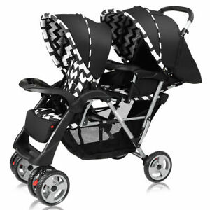 Foldable-Twin-Baby-Double-Stroller-Kids-Jogger-Travel-Infant-Pushchair-Black