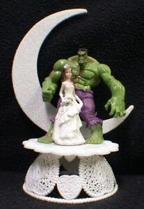 Moon Hulk Groom Bride Wedding Cake Topper Top Super Hero Funny