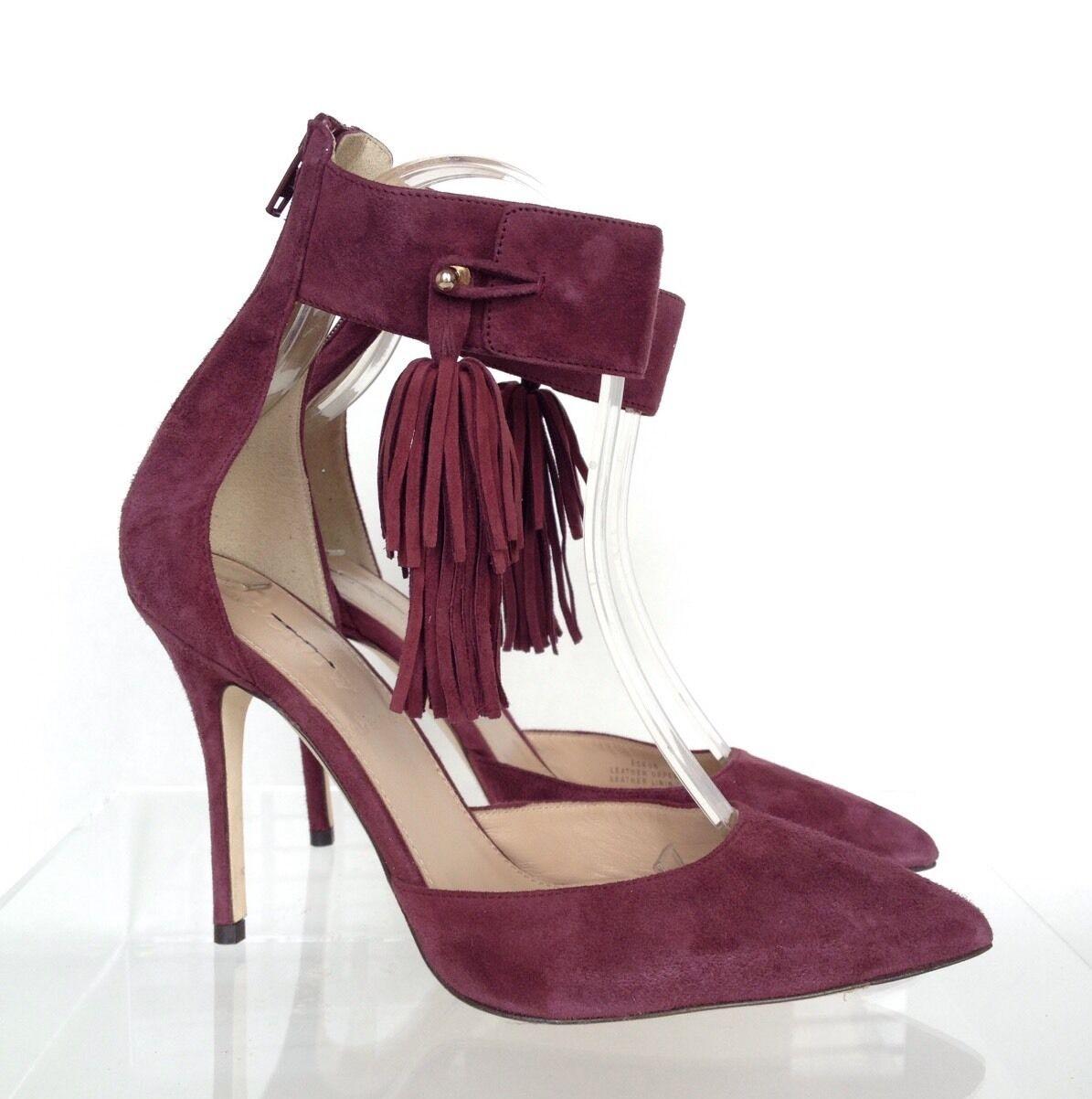 J.CREW Roxie Ankle-Cuff Tassel Suede Pumps Sz 6 ROT Cabernet e0806 315