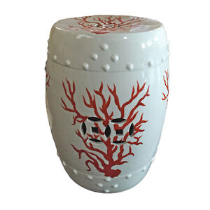 White Amp Coral Red Garden Stool Ceramic End Table Indoor