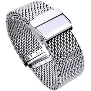 20mm-Stainless-Steel-Mesh-Milanaise-Watch-Band-Bracelet-color-silver