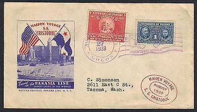 Panama Us 1939 Maiden Voyage Ss Cristobal Panama Linie Panama Süd- & Mittelamerika