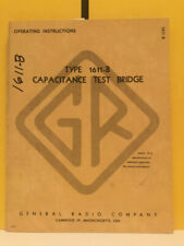 General Radio 668 F Type 1611 B Capacitance Test Bridge Operating Instructions