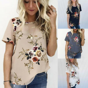 08bbcae510ffa4 Womens Lady Short Sleeve Floral Printing Blouse Tops Casual Loose T ...