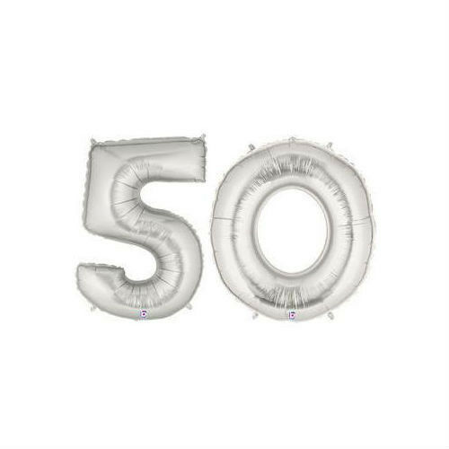 "Party Balloon Numbers /""50/"" Silver Betallic Megaloon 40"" Mylar"