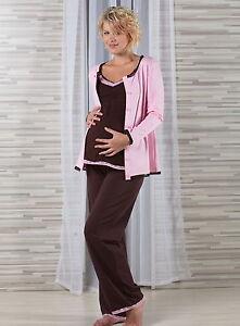 Umstandsschlafanzug-Stillschlafanzug-br-3-Teile-Gr-36-NEU