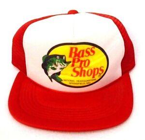 3b35a4c1ad84b Vintage Bass Pro Shops Red Snapback Mesh Fishing Trucker Hat Cap ...