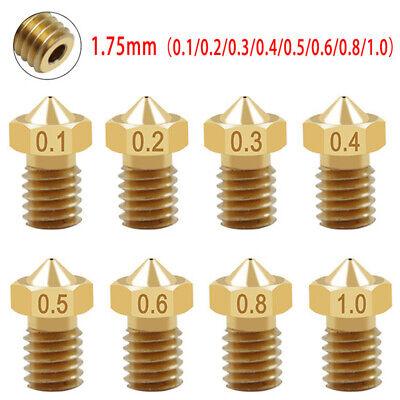 2pcs 3D Printer Extruder Brass Nozzle kit 0.1-1.0mm M6 Thread 1.75mm For E3D