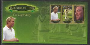 GRENADA 2007 SHANE WARNE - THE LEGENDARY 3v GOLD Border Stamps FDC
