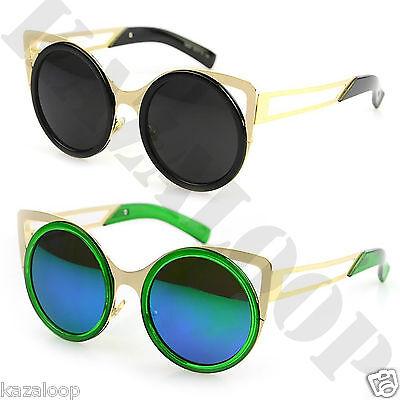 Womens Large Slim Metal Cat Eye Ear Reflective Frame Lens Sunglasses