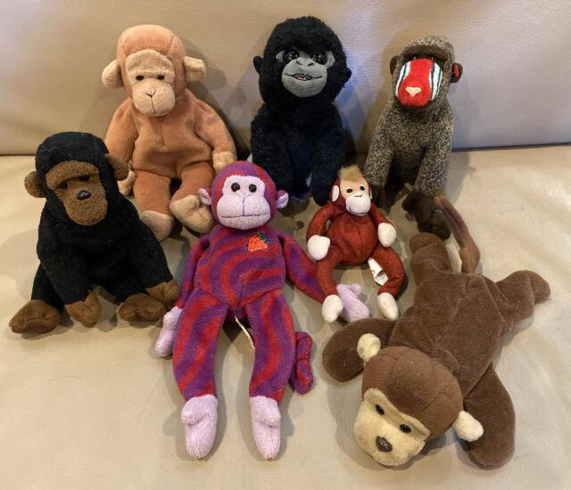 TY LOT 7 MONKEY Gorilla PLUSH Bo Twisty Cheeks Congo Bongo
