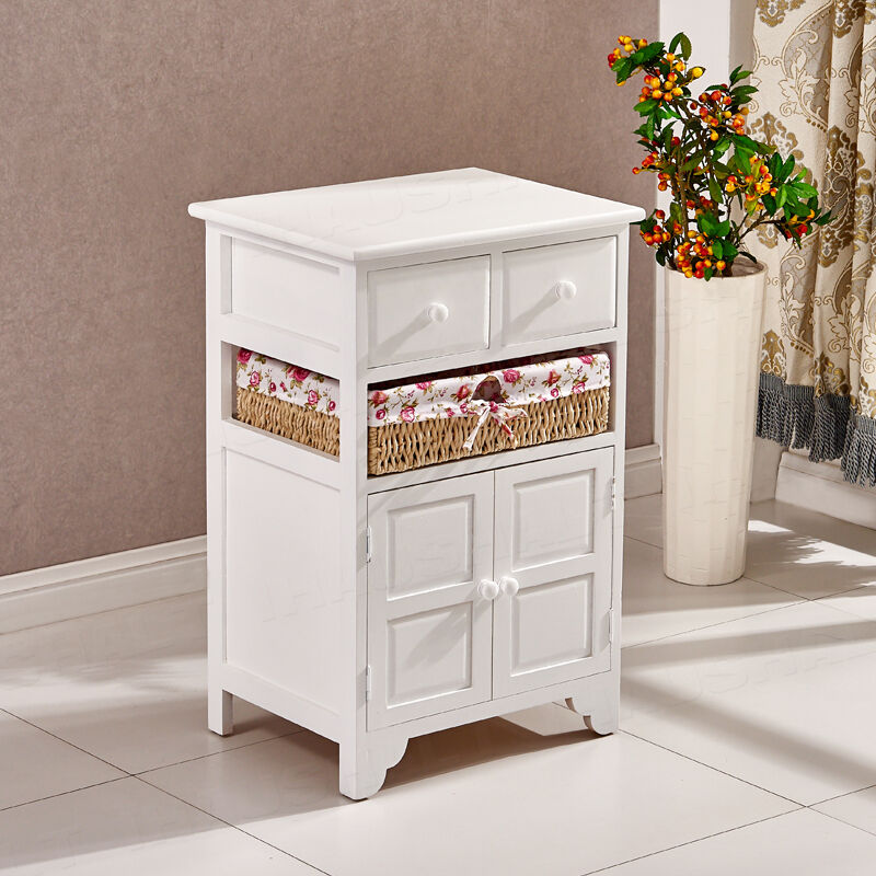 White Wicker Storage Cabinet Shabby Chic Bedside Table 2