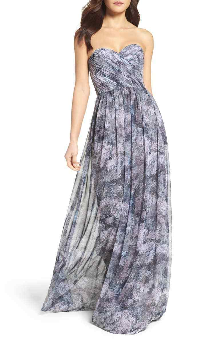 NEW AMSALE Talisa Strapless Chiffon Gown GRAPHITE GA120E Women's 2