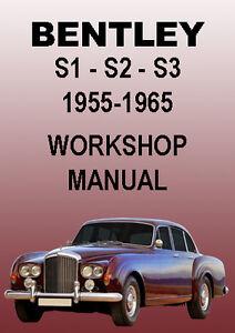 bentley s1 s2 s3 workshop manual 1955 1965 ebay rh ebay com au Bentley S2 Interior Bentley S2 Flying Spur