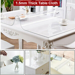 2-Mm-Plastique-Clair-Table-Nappe-Protection-Housse-Impermeable-Tablecovers-for-Home