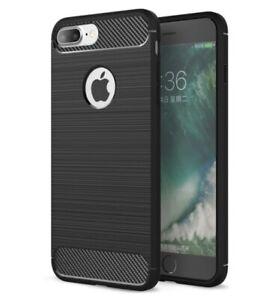Dettagli su Cover IPHONE 8 Plus Silicone TPU Nera Fibra Di Carbonio Effetto Alluminio Brush
