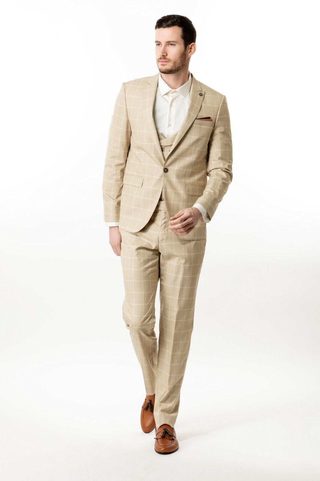 Beige Windowpane Mens 3 Piece Slim Fit Suit