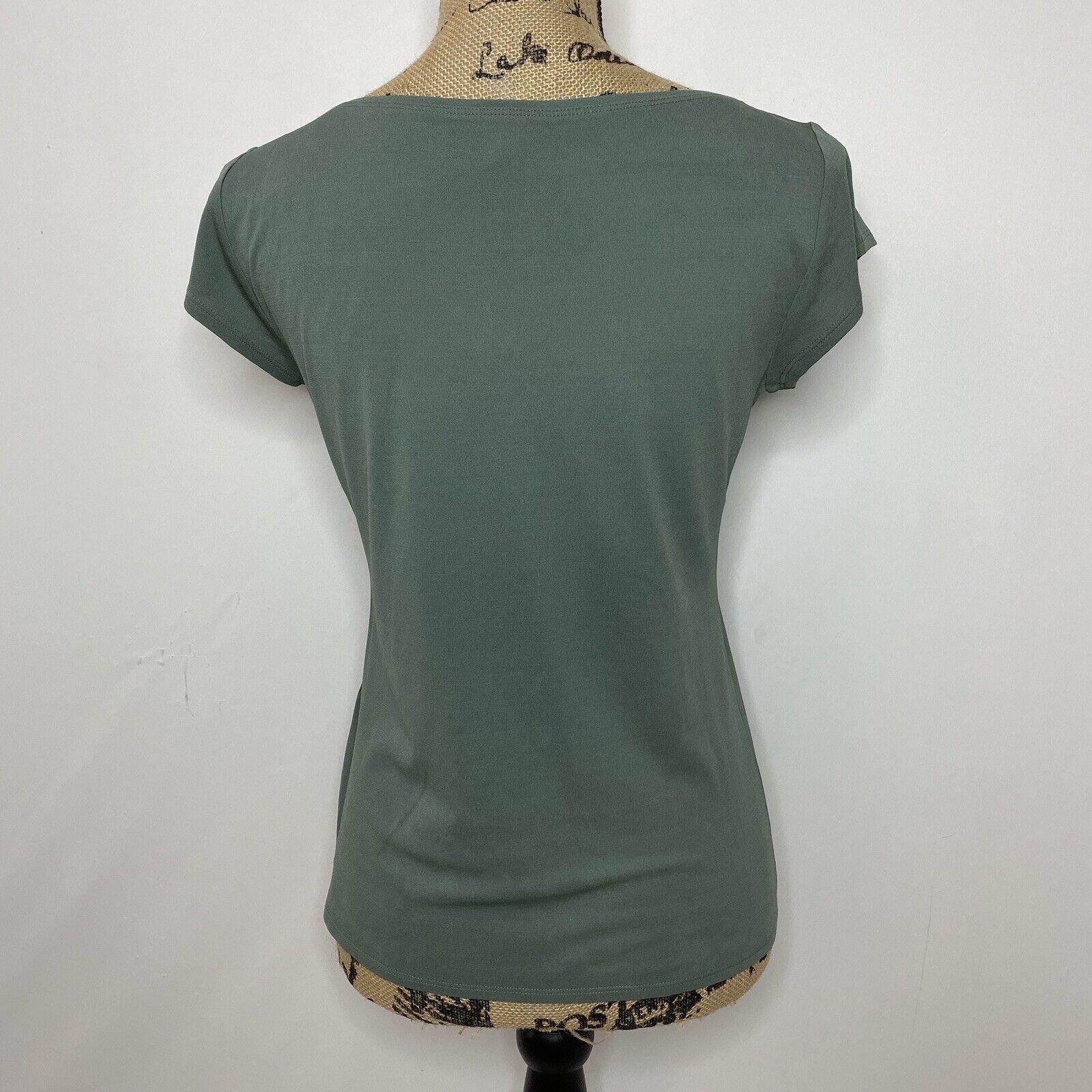 Eileen Fisher Silk Top XS Green Short Sleeve Shirt - image 5