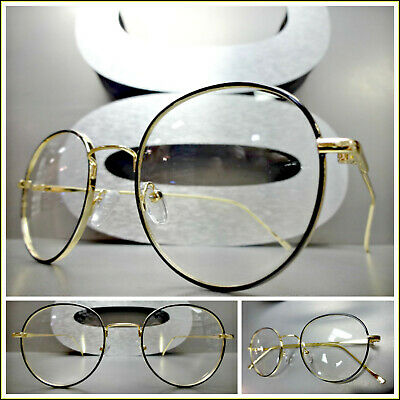 Mens  Round Clear Lens Gold Frame Vintage Retro Hip Hop Fashion Oval Glasses