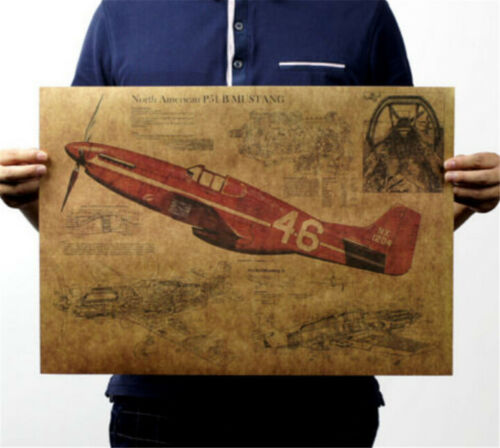 FD3199 P51 Mustang Fighter Structural Drawings Paper Kraft Posters Decor 51CM✿