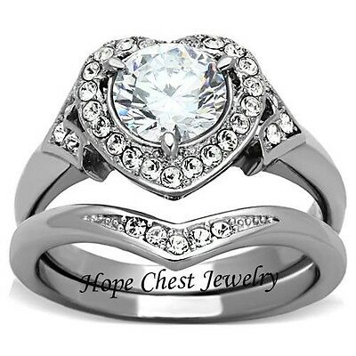 WOMEN'S STAINLESS STEEL 2.75 CT ROUND HALO HEART CZ WEDDING RING SET SIZE 5 -10