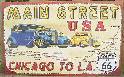 Main Street USA Route 66 TIN SIGN metal vtg garage car wall decor hot rod ad OHW
