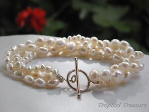 White-Cultured-3-Row-Freshwater-Pearl-Bracelet-925-SOLID-Silver-clasp