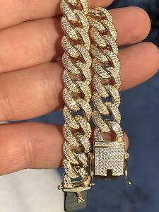 Mens Cuban Miami Link Bracelet 14k Gold Over Solid 925 Silver 12ct Lab Diamonds