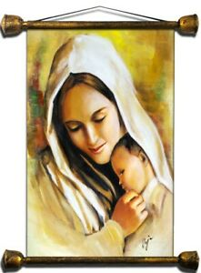 Religion-Mary-and-Jesus-Handmade-Oil-Painting-Picture-Oil-Frame-Pictures-G01524