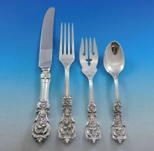 Francis-I-by-Reed-amp-Barton-Sterling-Silver-Flatware-Service-Set-24-Pieces-Old