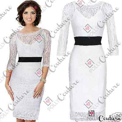 Womens White Lace Midi Bodycon Bridesmaid Prom Cocktail Evening Party Dress