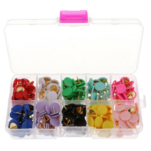 A Box of 300x Round Push Pins Drawing Pins Thumbtack for School Office 10mm