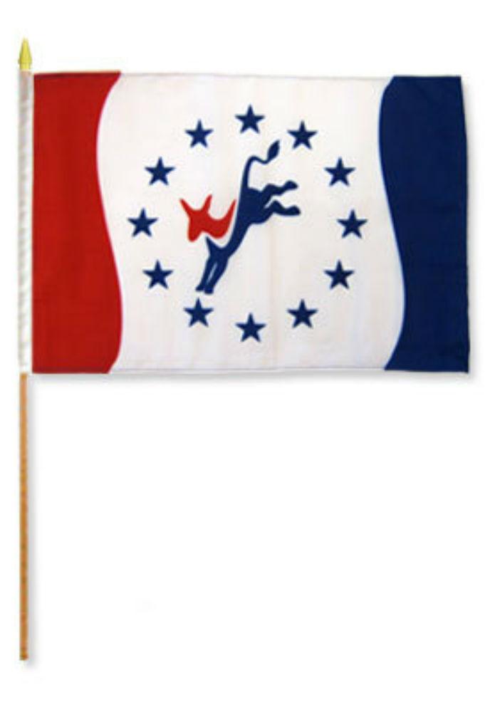 "12x18 12/""x18/"" Democrat Donkey Stick Flag wood staff"