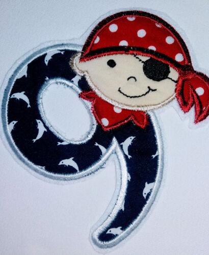 Piratenzahlen-Applikation Piraten-Zahlen Geburtstagszahlen Aufnäher von 1 bis 9