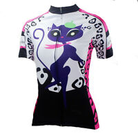 Women's Cycling Clothing Short Sleeve Bicycle Jersey Outdoor Sport Tops Pink Cat