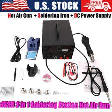 853d 3 In 1 Soldering Station Hot Air Gun Power Source Digital 11pcs Solder Tips