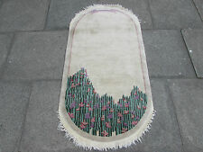 Antique Hand Made Art Deco Chinese Oriental Oval Rug Beige Wool 153x78cm